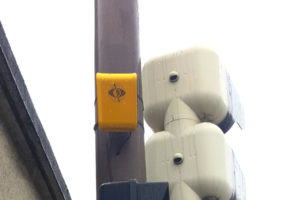 Zoom on our device aBeacon installed on traffic lights