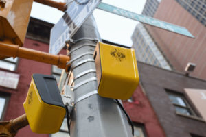 The APS aBeacon installed on traffic lights in New York City